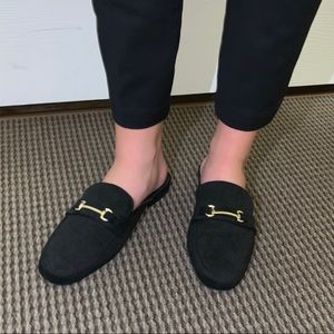 Suede Dress Loafers with Gold Detailing
